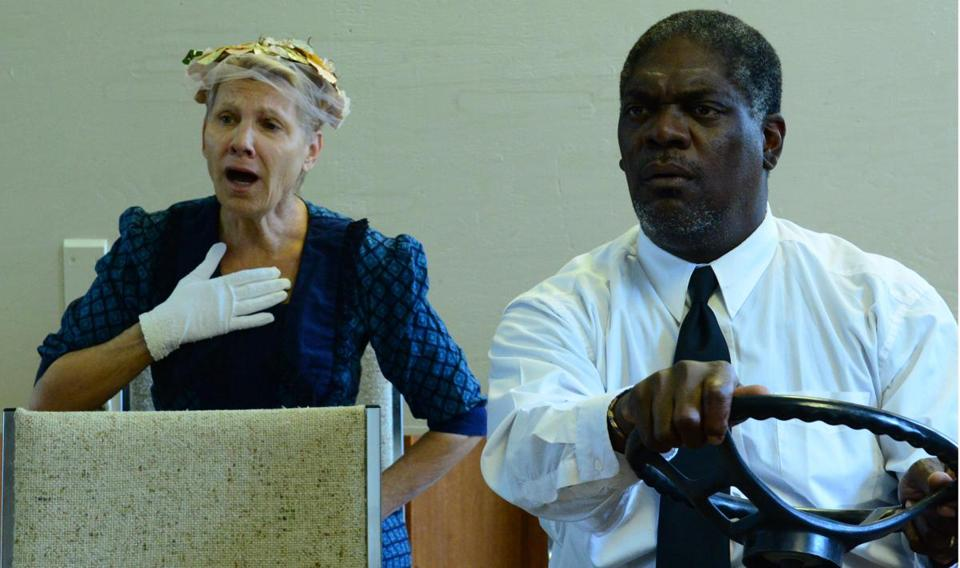 "Lindsay Crouse as Daisy and Johhny Lee Davenport as Hoke in ""Driving Miss Daisy"" at Gloucester Stage."