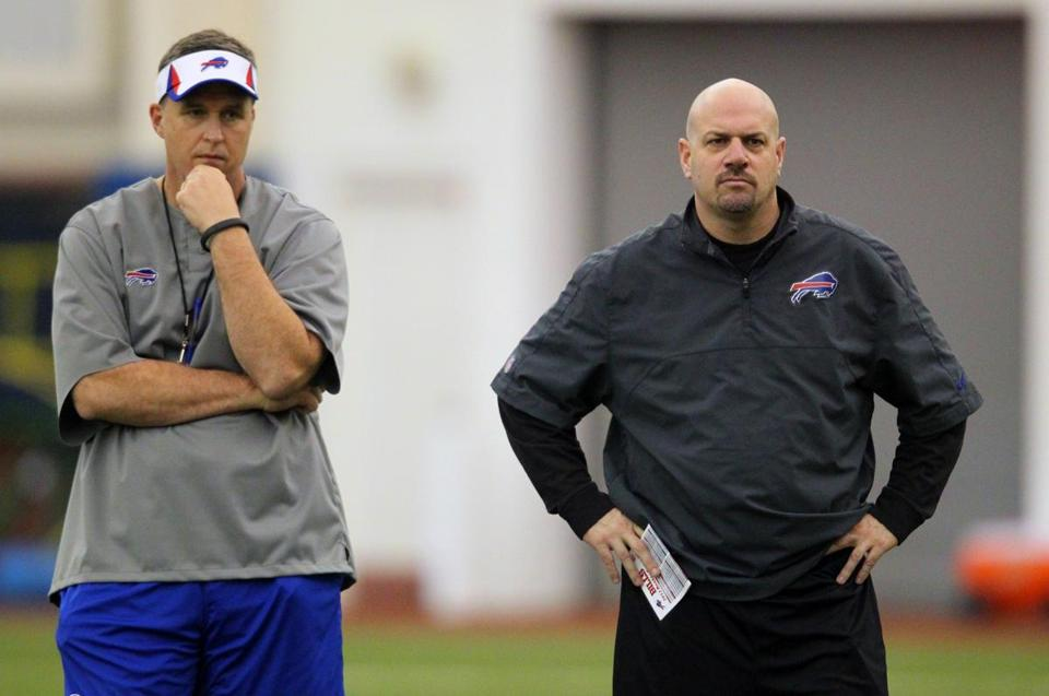 New Bills coach Doug Marrone (left) named Mike Pettine (right) his defensive coordinator.