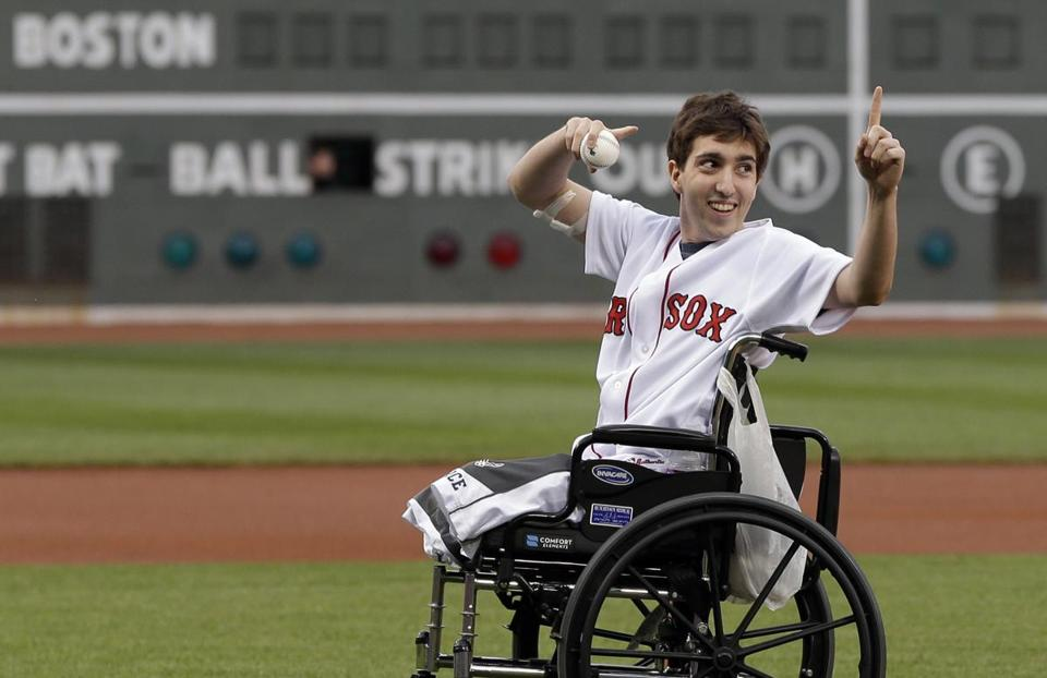 Jeff Bauman acknowledged the crowd before throwing out the first pitch at Fenway Park on May 28.