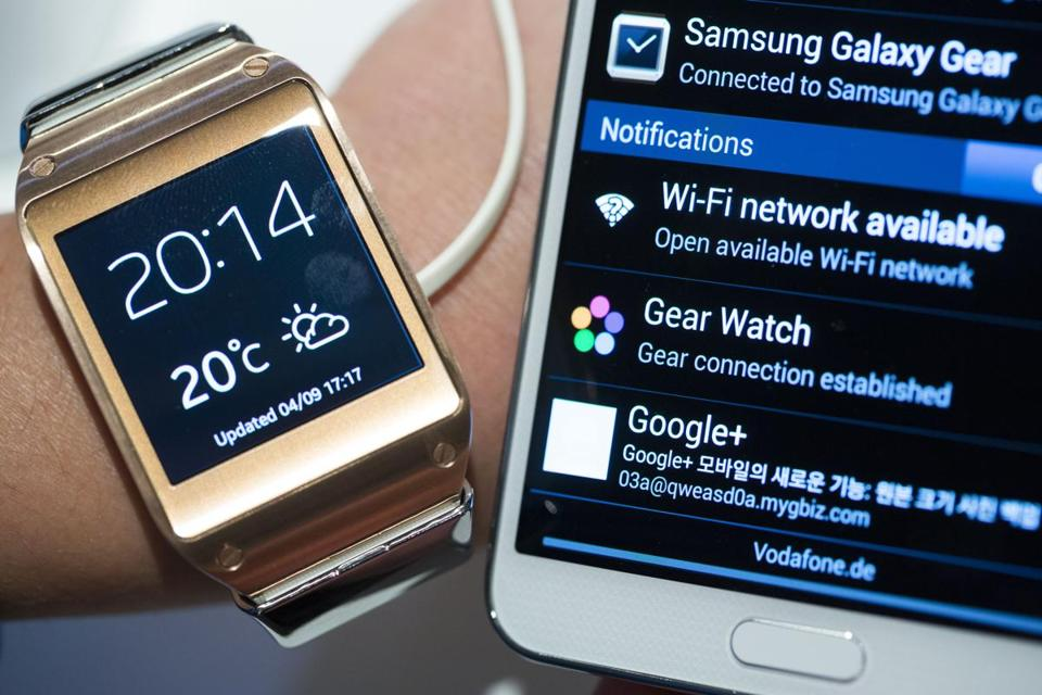 The new Samsung Galaxy Gear wristwatch can make and receive phone calls and e-mails and supports about 70 applications, but has to be recharged every day.