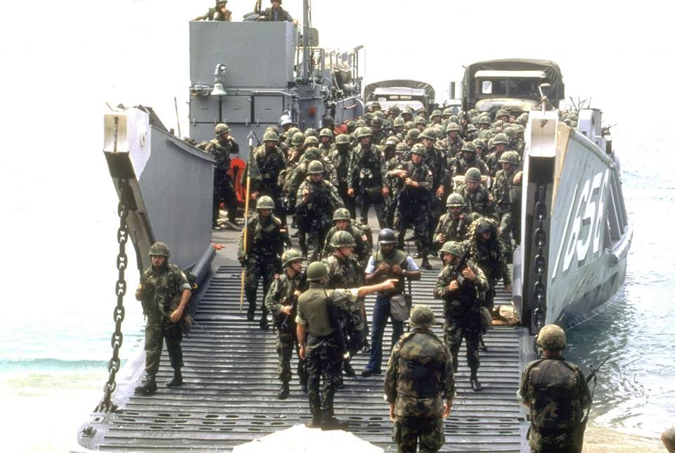 American troops disembarked at the start of the invasion of Grenada on October 25, 1983.