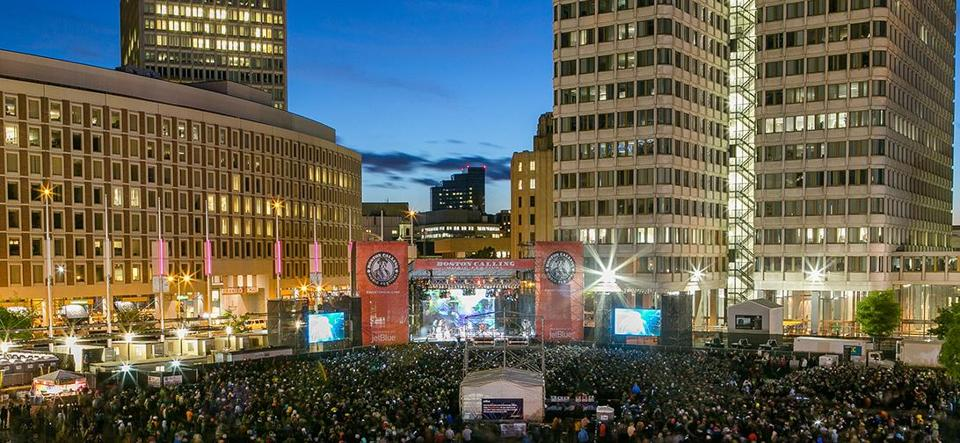 A view of the crowd during the initial Boston Calling music festival.