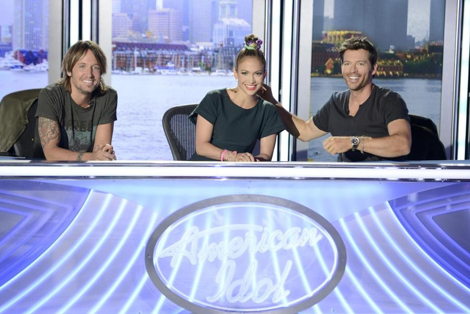 'American Idol' judges (from left) Keith Urban, Jennifer Lopez, and Harry Connick Jr. in Boston.