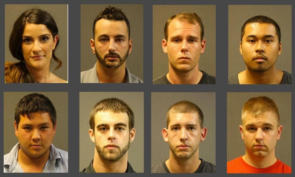 Eight were arrested and three more have been summonsed to court for drug possession and distribution at The Ocean Club. (From top, left to right:) Suzanne Florio, Jeffrey Chasen, William Naumenko, Johnnerson Chan, Timothy Randall, David Patricio, Timothy Sliva, and Mitchell Molde were all arrested.