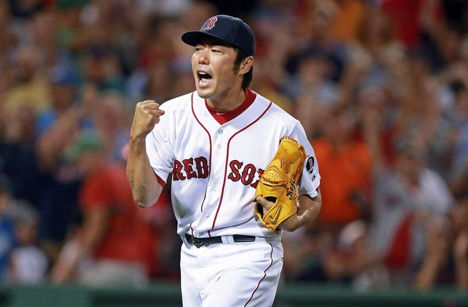Koji Uehara finished off the Tigers with a 1-2-3 ninth inning for his 12th consecutive save.
