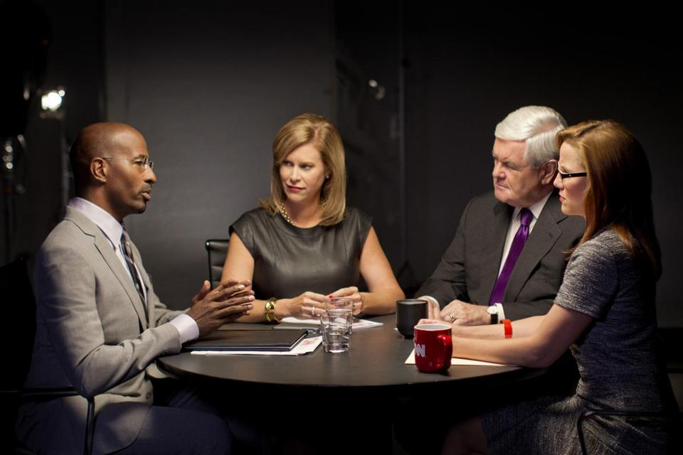 "CNN's new ""Crossfire"" panel is (from left): Van Jones, Stephanie Cutter, Newt Gingrich, and S.E. Cupp."