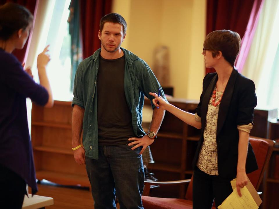 """Tribes"" director M. Bevin O'Gara (right) communicates with actor Joey Caverly through interpreter Jessica Doonan."