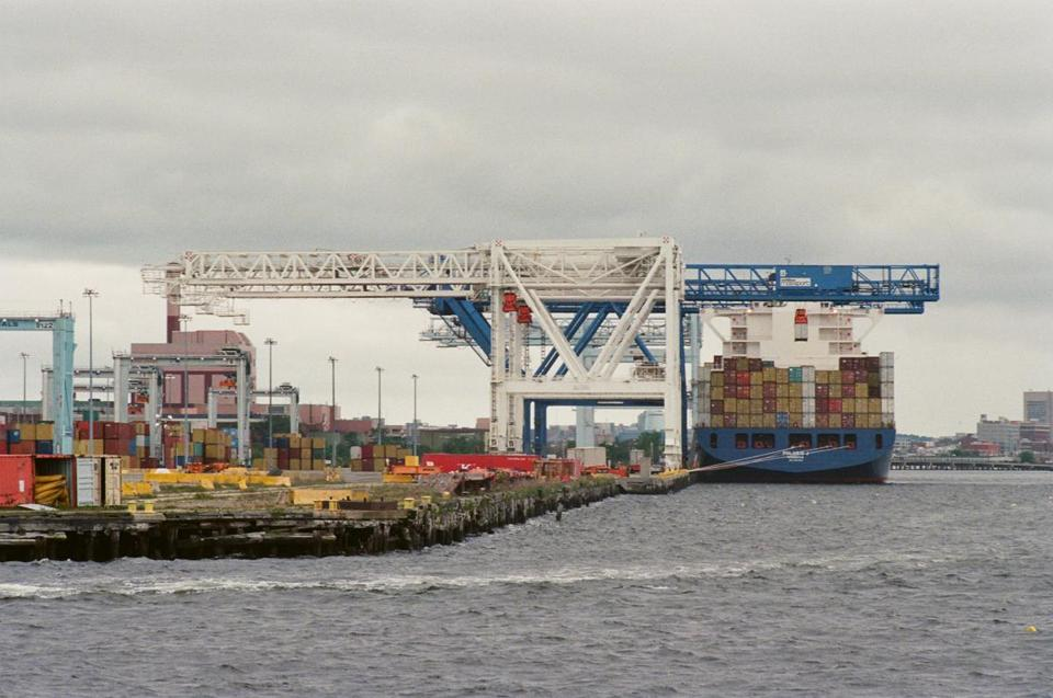 A cargo vessel docked at the Conley container terminal last summer.