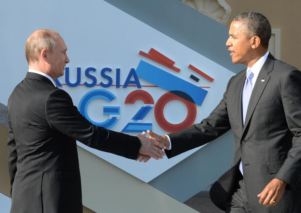 Russian President Vladimir Putin (left) welcomed  President Obama at the start of the G20 summit in Saint Petersburg. Russia.