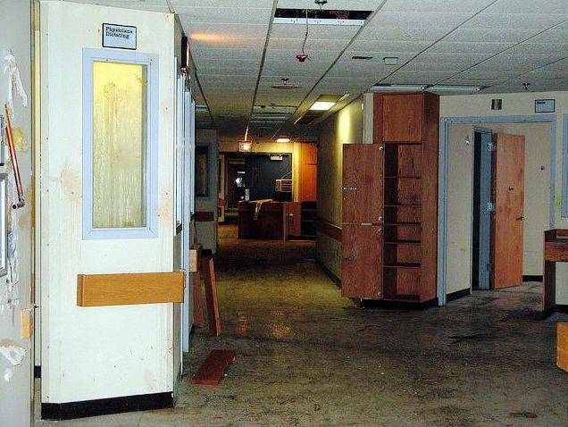 In a 2009 photograph, the interior of the former Malden Hospital building shows decay and disrepair. The hospital closed in 1999, but the property remains unsold.
