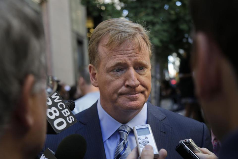 NFL commissioner Roger Goodell spoke to reporters during a news conference Wednesday.