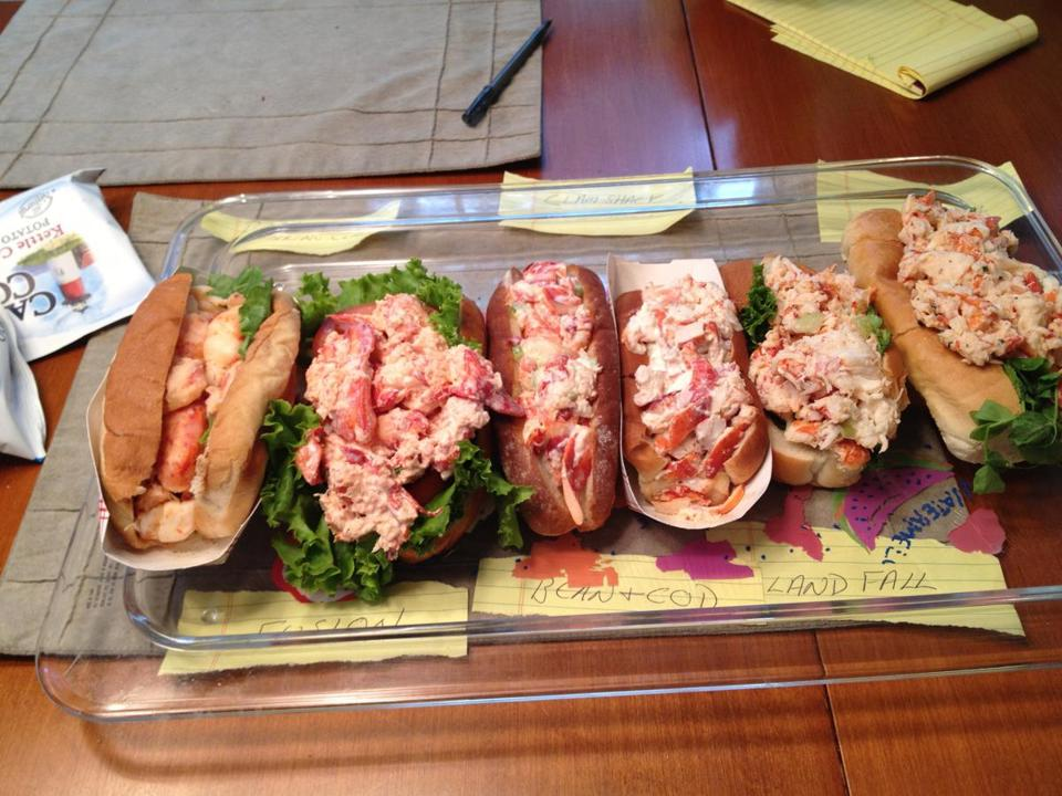 From left: lobster rolls from The Barking Claw, The Phusion Grill, Bean and Cod, Clam Shack, Landfall, and Quicks Hole.