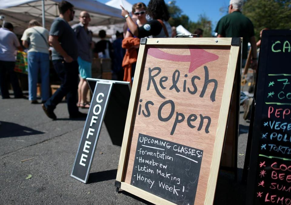 Relish's sign at the Somerville farmers' market.