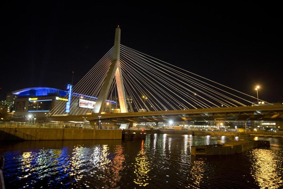 The Zakim Bridge was illuminated last week by gold lights for National Childhood Cancer Awareness Month.