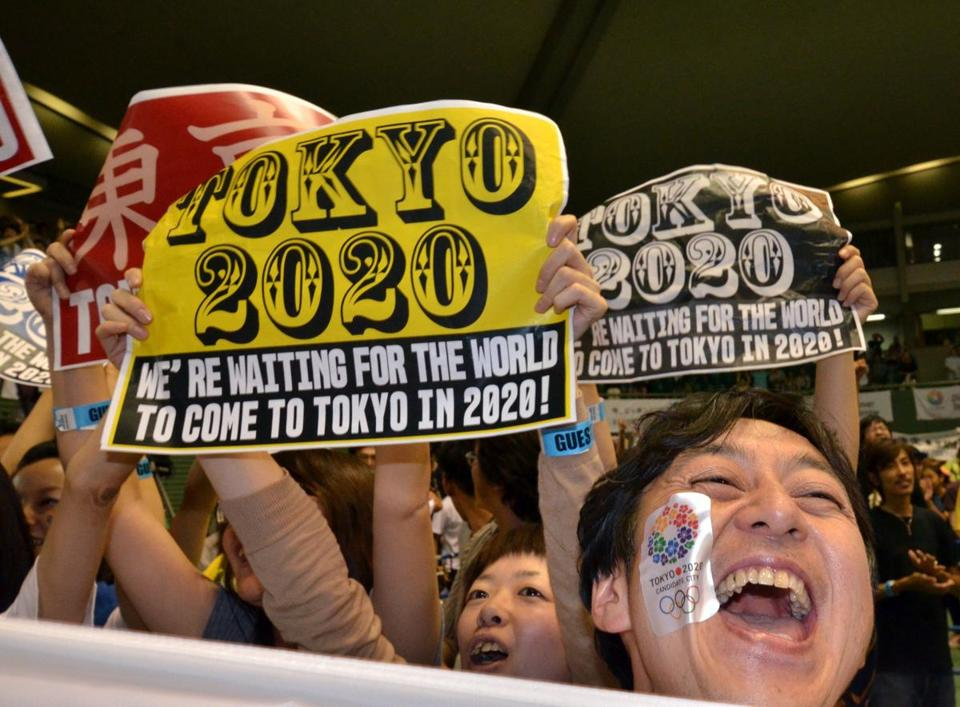 Citizens of Tokyo celebrate their victorious 2020 bid over Istanbul and Madrid.
