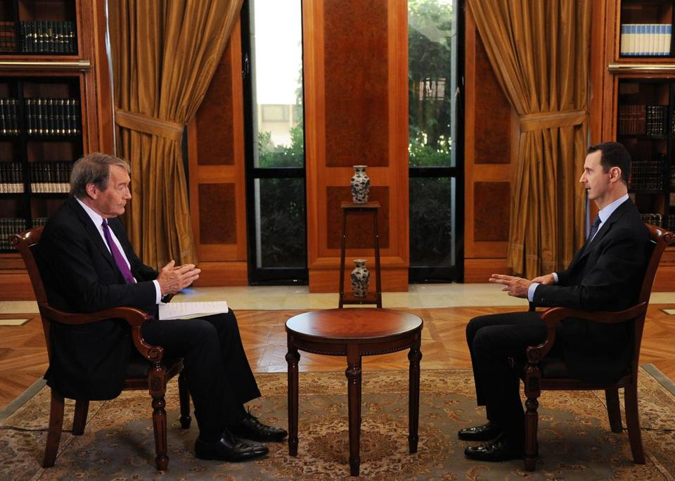 President Bashar Assad of Syria spoke to CBS television in an interview to be broadcast Monday.