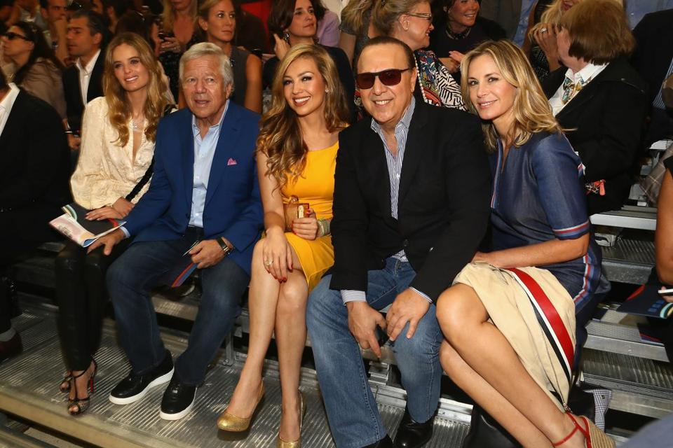 From left: Ricki Lander, Robert Kraft, Thalia Mottola, Tommy Mottola, and Dee Hilfiger at Tommy Hilfiger's show.