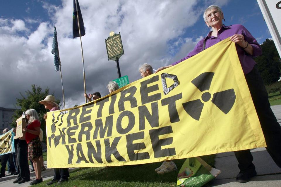 In Montpelier, antinuclear activists mark the news.