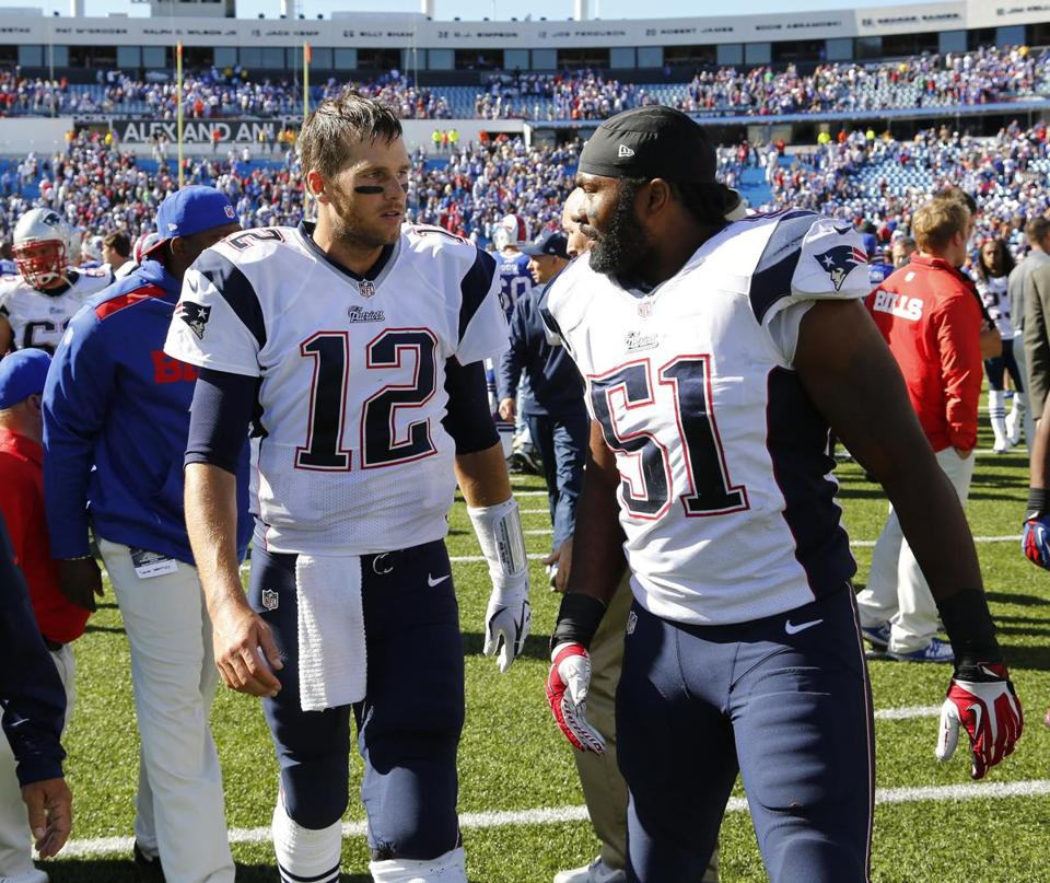 Tom Brady, left, and Jerod Mayo barely escaped Buffalo with a win on Sunday.