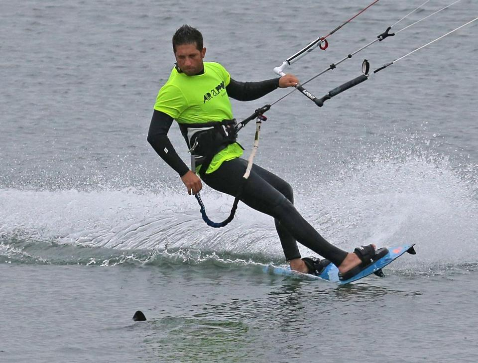 Avi Levy, a kite-surfer, got a close-up look of the mysterious fish that appeared near Castle Island.