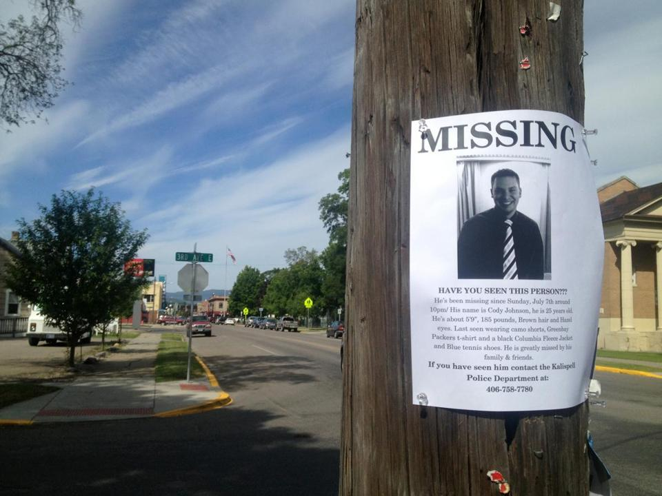 A flier posted in Kalispell, Mont., in July sought help finding Cody Lee Johnson.