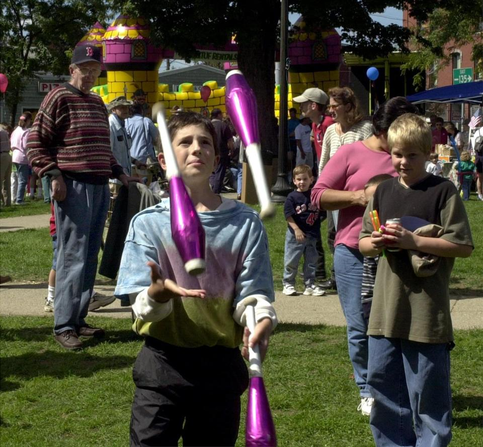 Daniel Rosenberg, 10 of Wellesley with the Dandy Jugglers during the Natick Days Festival.