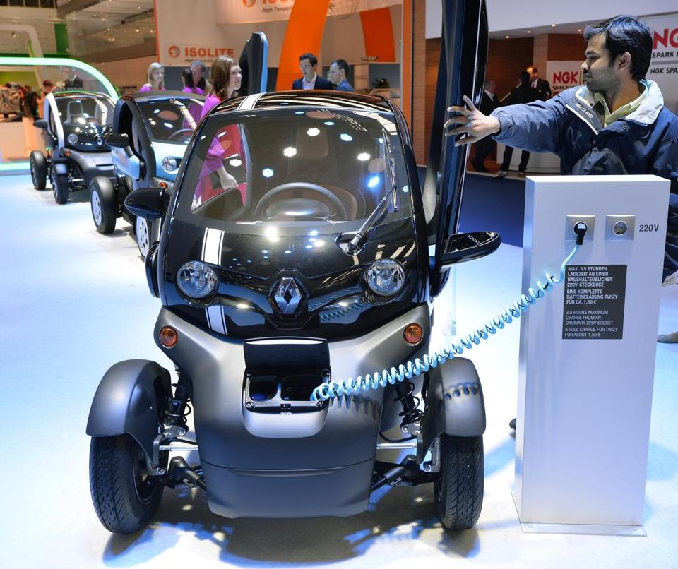 Renault's Twizy electric car received attention at the Frankfurt Auto Show. Only 0.2 percent of all cars registered in Europe are hybrid or electric.