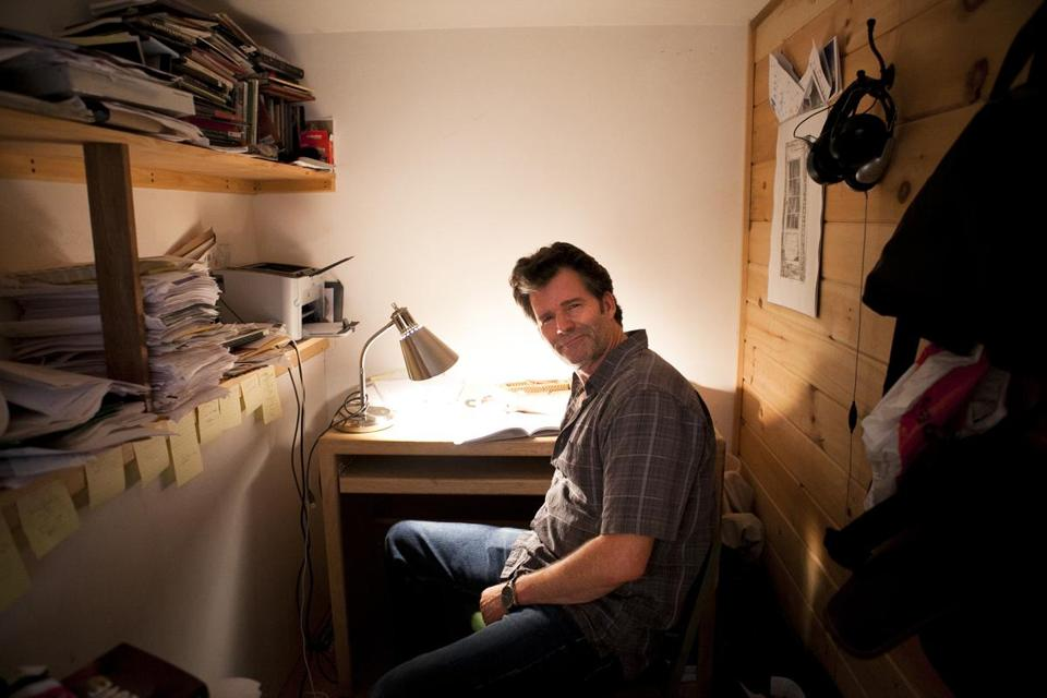 Andre Dubus III writes his novels out in longhand in pencil. His writing room is a small space in the basement.