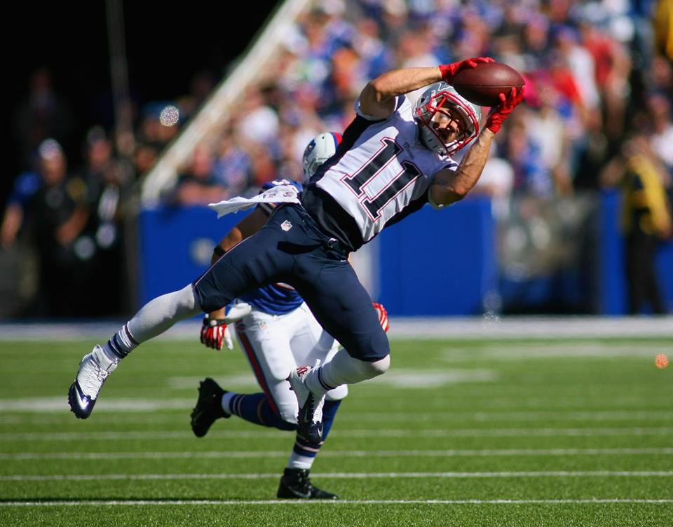 Julian Edelman caught seven passes for 79 yards and two touchdowns in sunday's win over the Bills.