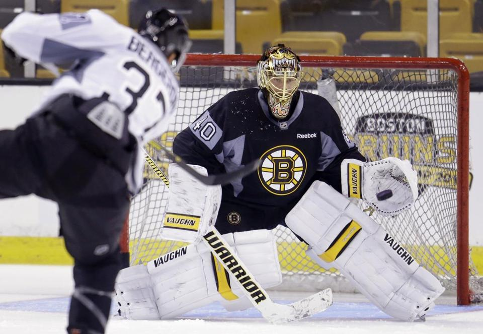 Bruins center Patrice Bergeron took a shot on goal at Tuukka Rask Thursday.