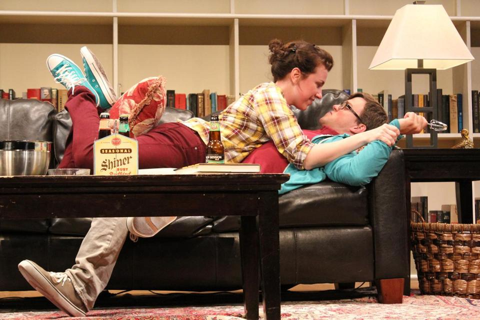"Liz Hayes and Jordan Ahnquist in Stoneham Theatre's production of Theresa Rebeck's ""Seminar."""