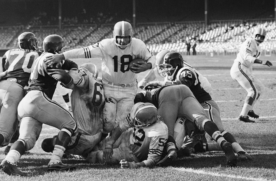 Broncos quarterback Frank Tripucka rushed for a touchdown against the New York Titans.