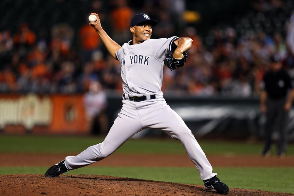 Mariano Rivera threw a pitch during the ninth inning Thursday.