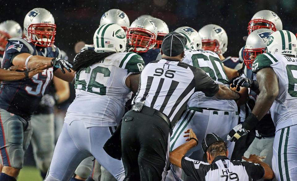 A scrum broke out in the final minute following Aqib Talib's interception and a late tackle by Nick Mangold.