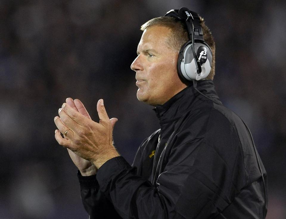 Maryland head coach Randy Edsall watches his team play against Connecticut during the first half of an NCAA college football game at Rentschler Field, Saturday, Sept. 14, 2013 in East Hartford, Conn. (AP Photo/Jessica Hill)