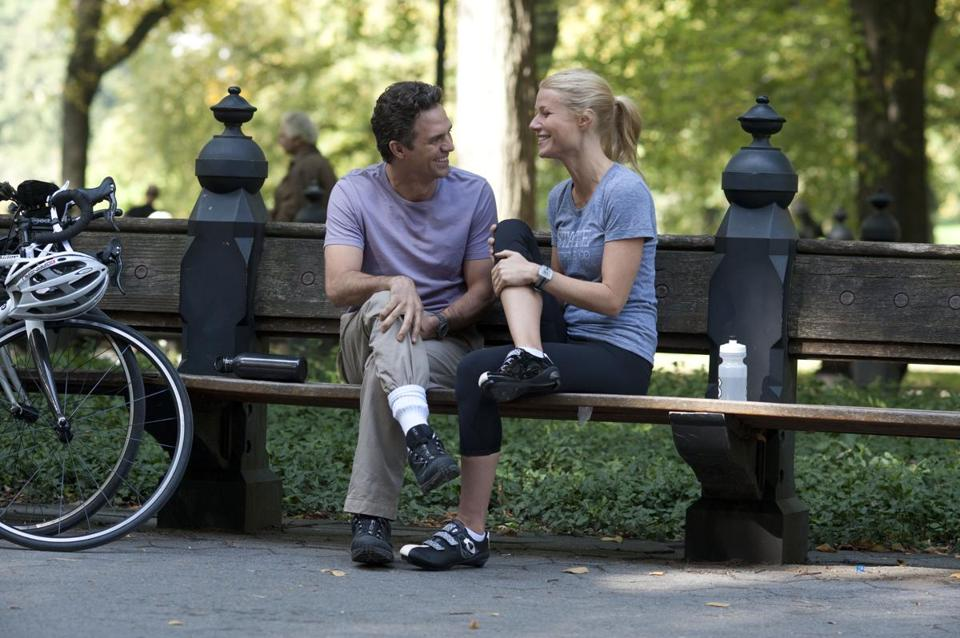 "Mark Ruffalo and Gwyneth Paltrow (above) and Josh Gad and Alecia ""Pink"" Moore in the drama ""Thanks for Sharing."""