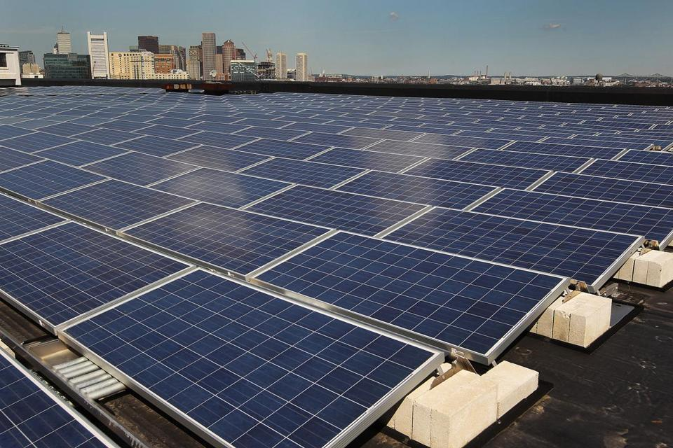 Solar panels at the Drydock building in Boston. David L. Ryan Photo/ Globe staff