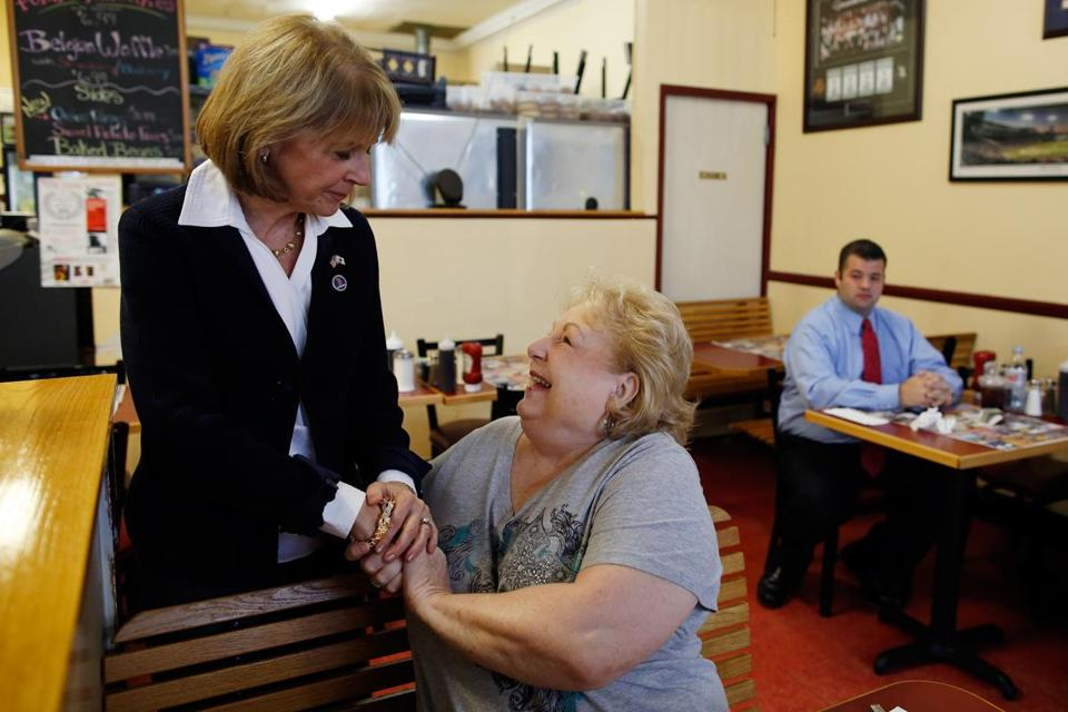 MEDFORD, 8 A.M.: Greeting resident Isabel Shea at Dempsey's Breakfast and Lunch.