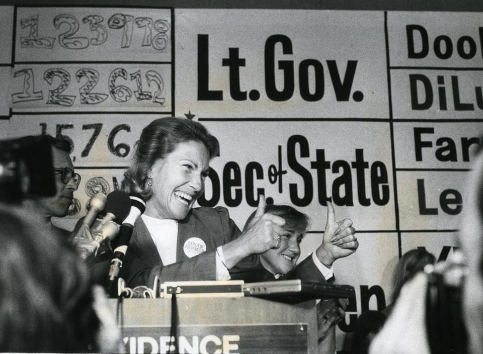 In 1982, Ms. Farmer became the first woman elected to statewide office in Rhode Island.