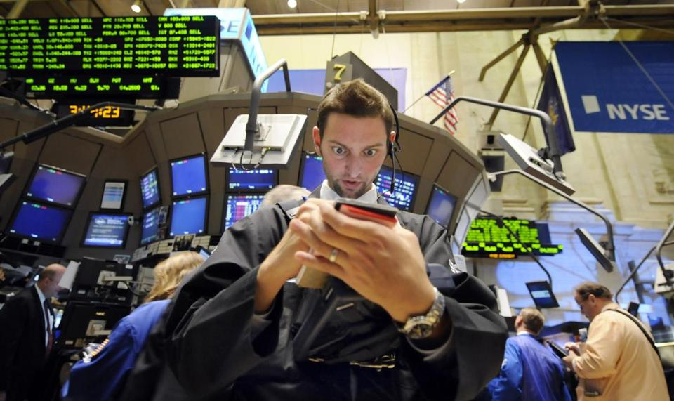 A trader worked at the New York Stock Exchange on Oct. 22, 2008, one of the largest single-day drops in NYSE history.