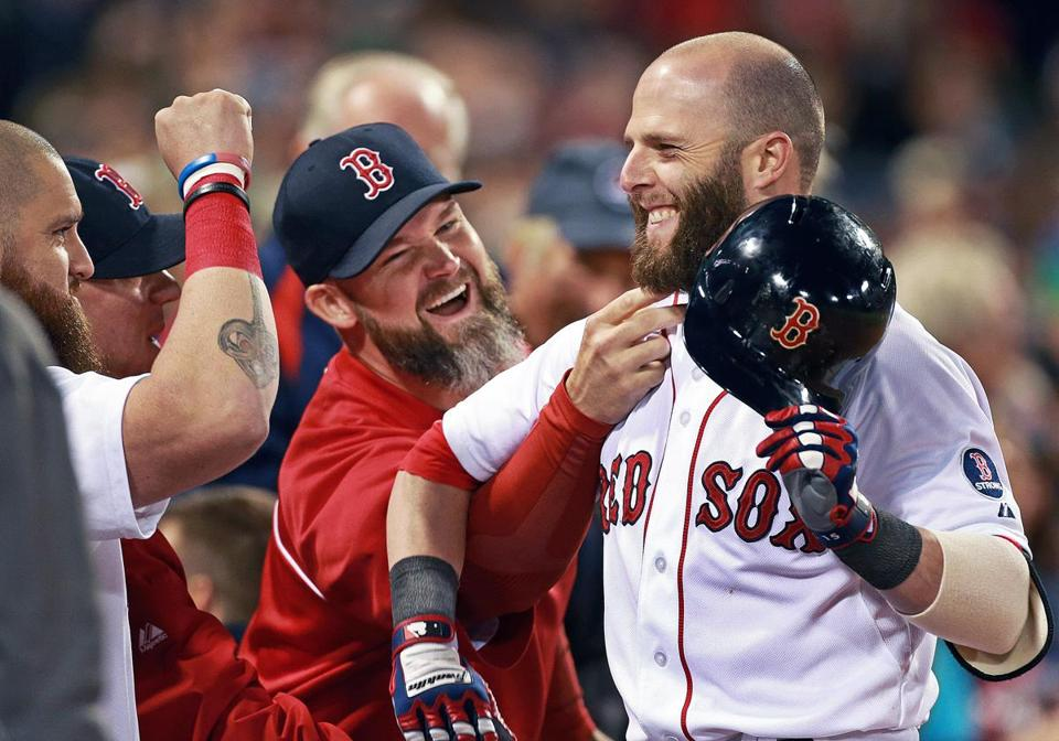 David Ross, Dustin Pedroia and the Red Sox have exceeded most fans' expectations this season.
