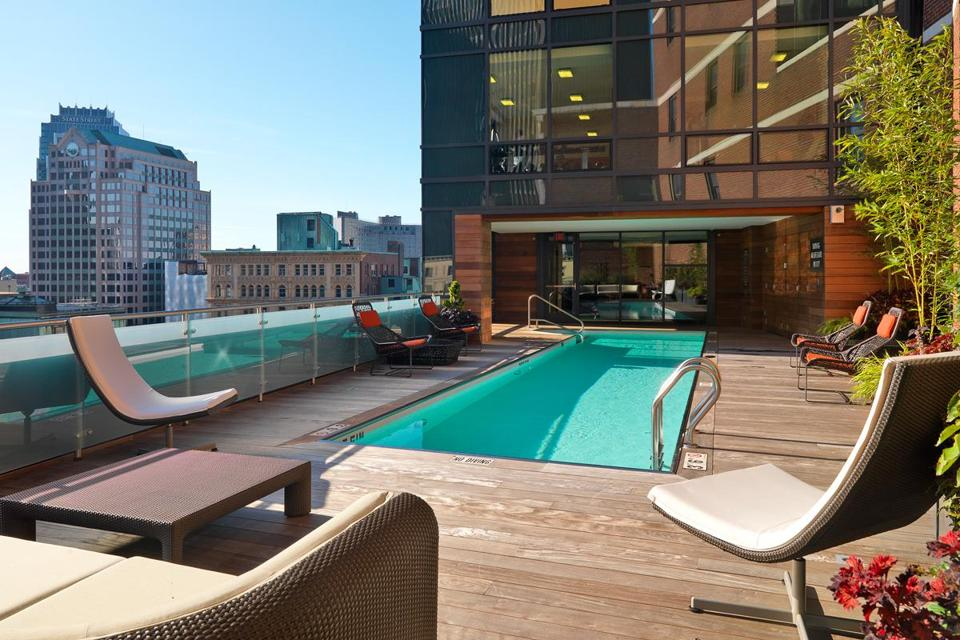At 45 Province in downtown Boston, residents enjoy the use of a rooftop pool; the units offer 85 different layouts.