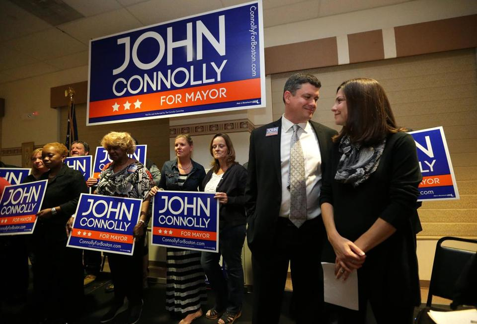 Mayoral candidate John Connolly with wife, Meg, at a rally in West Roxbury on Tuesday.