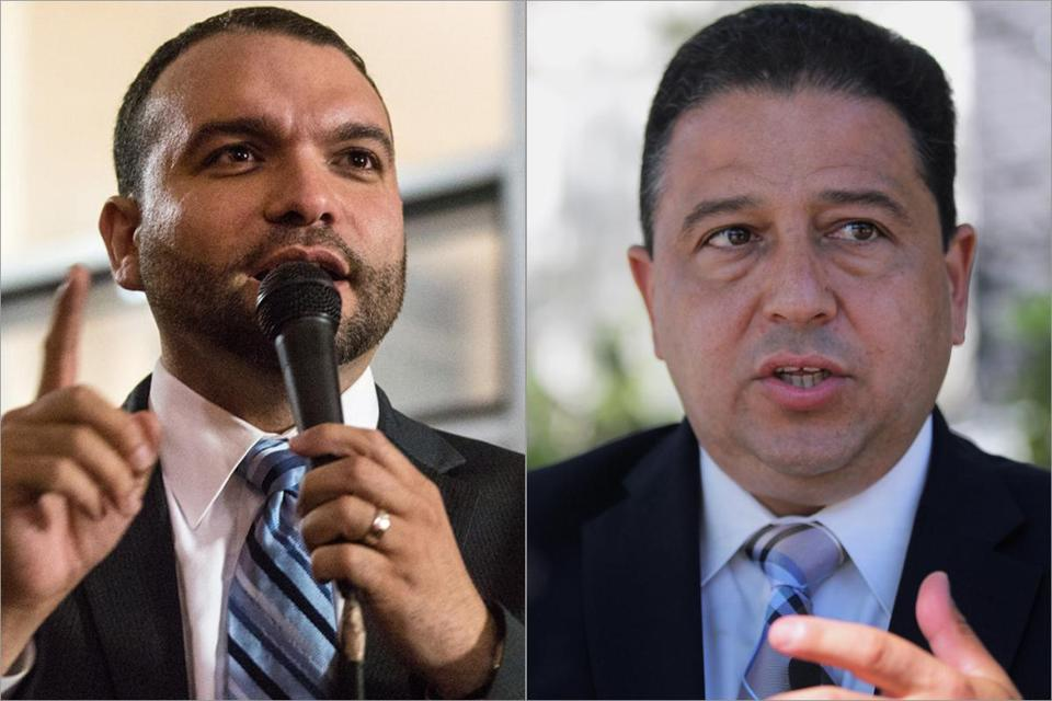 Teachers Union leaders said momentum picked up considerably for Rob Consalvo (left) and Felix G. Arroyo after a union-sponsored mayoral forum last Wednesday where the two won over many teachers.