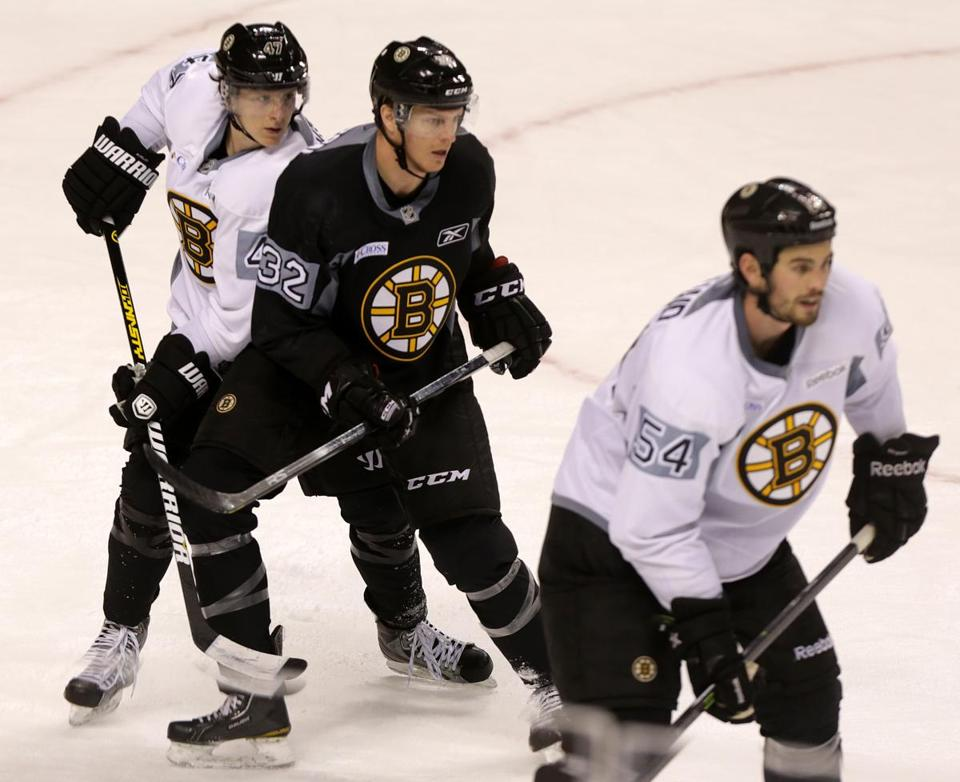 Defenseman Torey Krug (left) is likely to win a job because of his work on the power play.