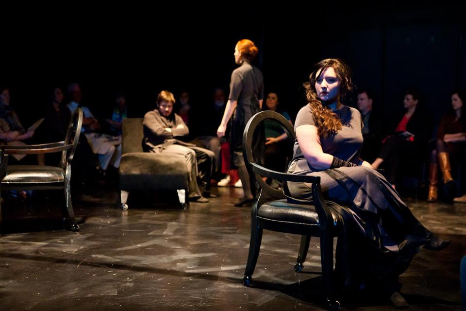 "Aliana de la Guardia (foreground) as Estelle in the new Guerilla Opera production of ""No Exit."""