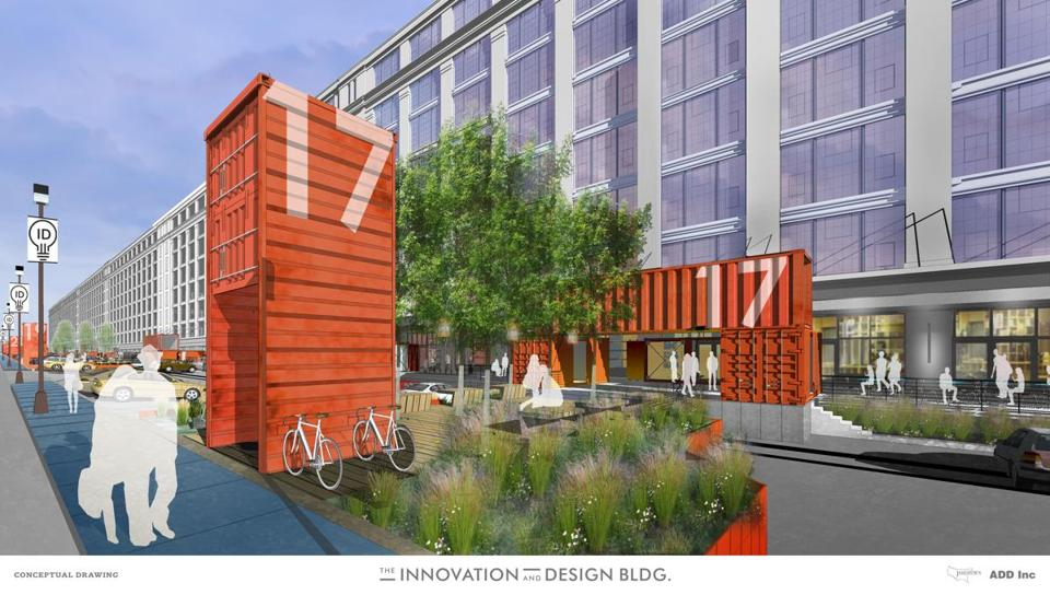 The exterior of the Boston Design Center building, where MassChallenge will move, is shown in this rendering.