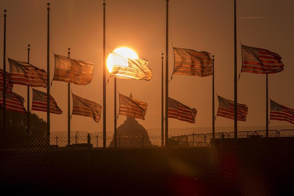 Flags will continue to fly at half-staff around Washington and throughout the nation until sunset on Friday.