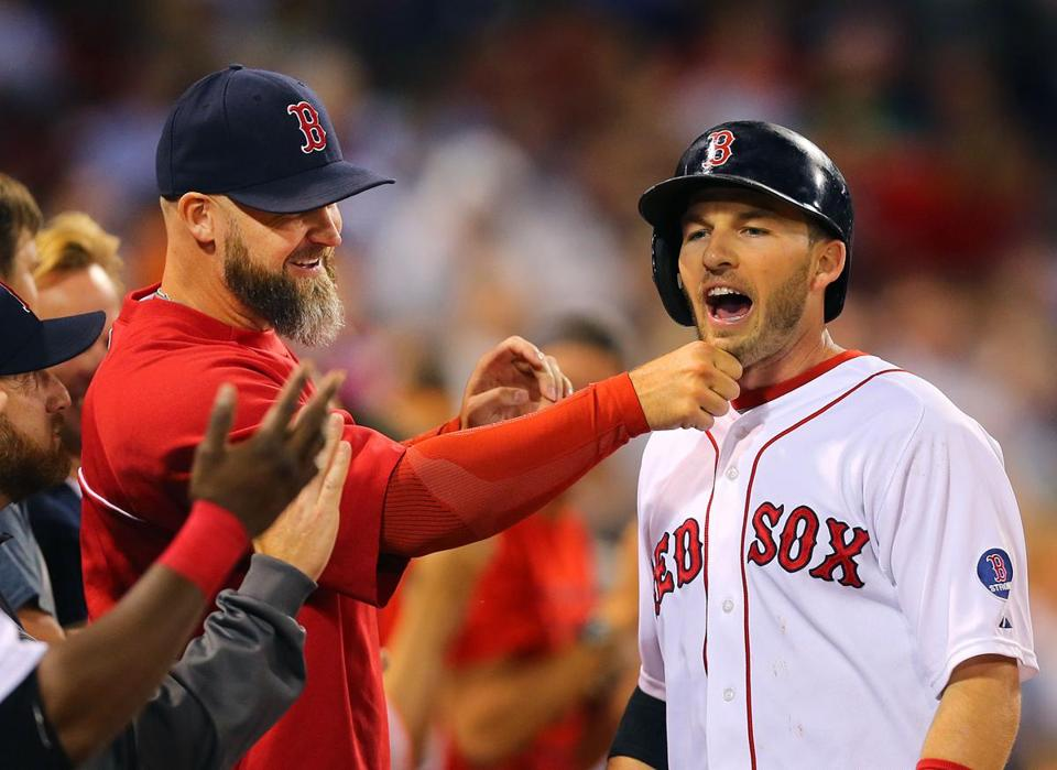 David Ross tugged what there is of Stephen Drew's beard after Drew's two-run homer in the second inning.