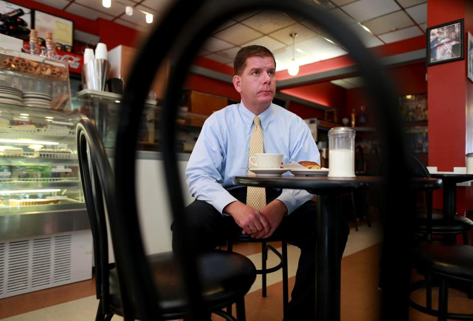Martin Walsh took a break from campaigning inside a North End cafe Sept. 18.